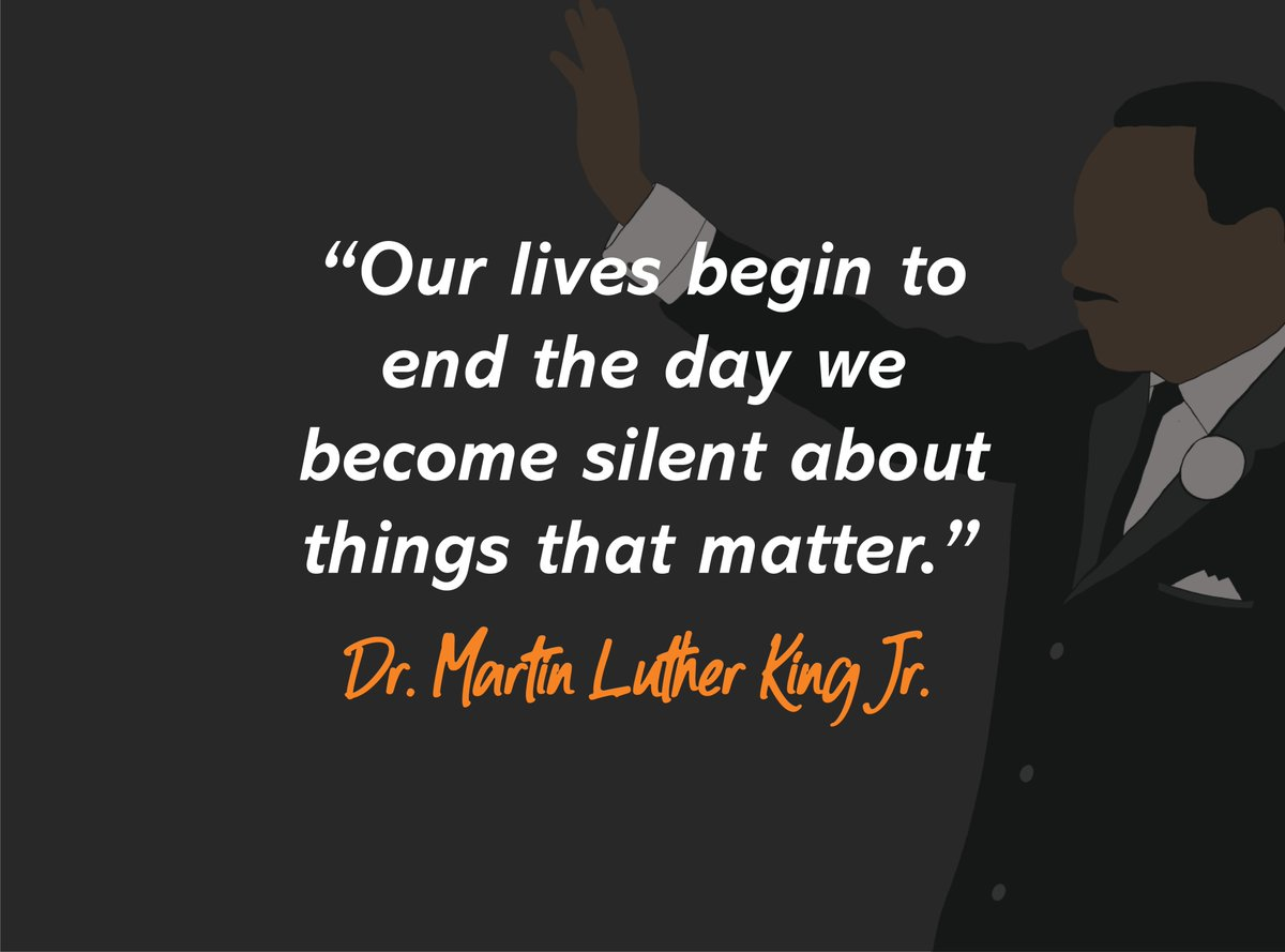 Don't be silent about things that matter!  Reply with your favorite Martin Luther King Jr quote or speech.  #utsa #utsacolfa #birdsup  #mlkday #mlkquotes #mlkjr