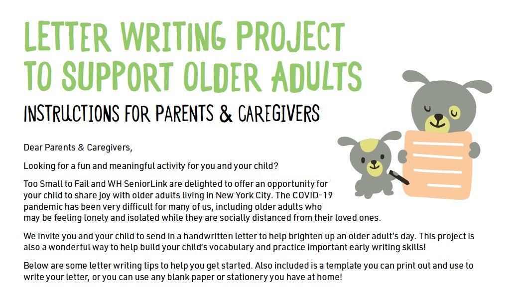 We're proud to partner with @WHSeniorLink on our #LettersFromLittleOnes campaign. Write a letter with your child to brighten up the day of an older adult living in New York City. Get involved: