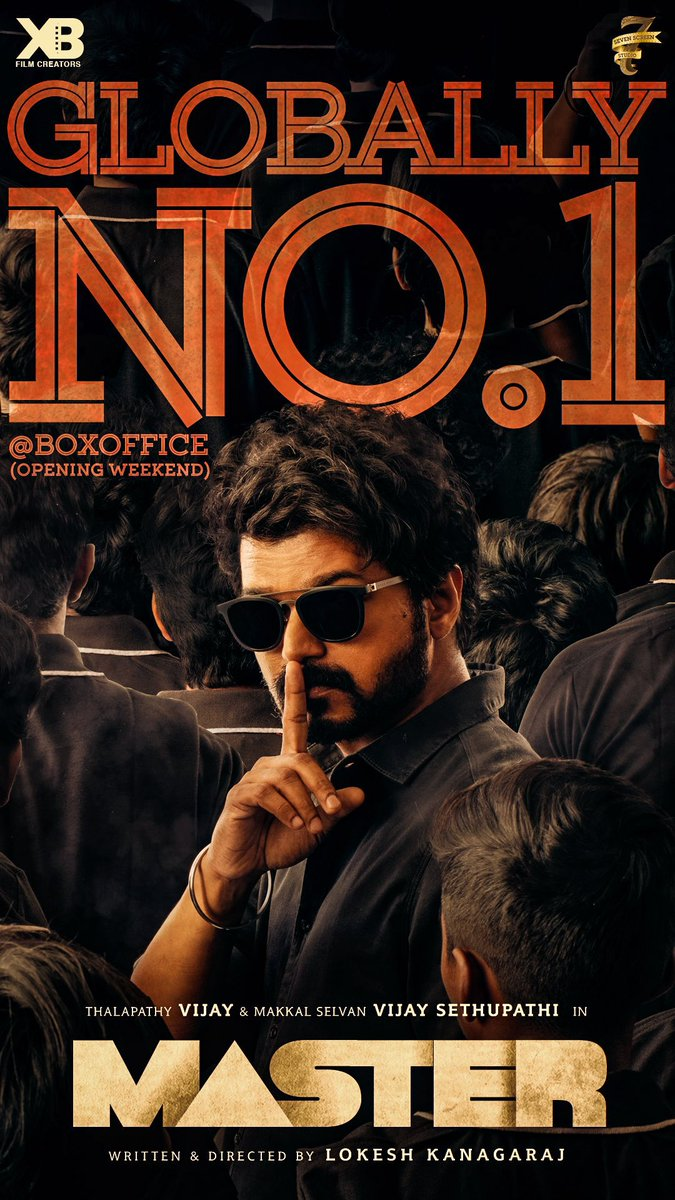 Replying to @Dir_Lokesh: Anaivarukkum Nandri 🙏🏻  Love you @actorvijay na @VijaySethuOffl na 🤜🏻🤛🏻  #MasterGloballyNo1