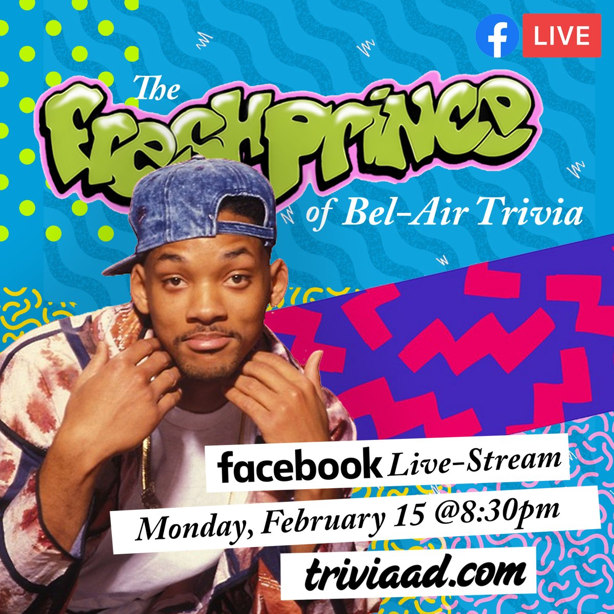 #TheFreshPrinceOfBelAir #Trivia via Facebook Live-Stream on Monday, February 15 at 8:30pm ET. RSVP GOING on Facebook at;  #FreshPrince #WillSmith #HBOMax