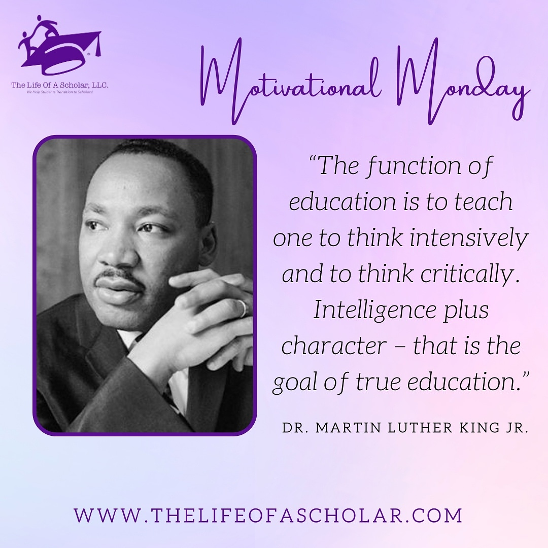 Today's Motivational Monday quote comes from the late Dr. King! 💡 #TheLifeOfAScholar #motivationalmonday #motivation #mlkday #adayon #DayOfService #MartinLutherKingDay #MartinLutherKing #MartinLutherKingJr #education #quote #quoteoftheday