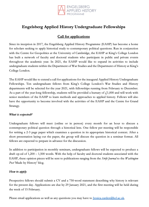 The CGS is now accepting applications for our inaugural Undergraduate Fellowships in Applied History. All @kingshistory and @warstudies undergrads are welcome to apply! In addition to learning methods in AH, there is a nice bursary! For more info: eahp.info/eahp-undergrad…