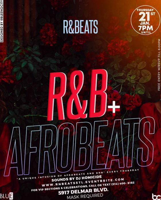 """""""R&BEATS: unique infusion of Afrobeats and R&B"""" #thingstodoinstlouis #thursday"""