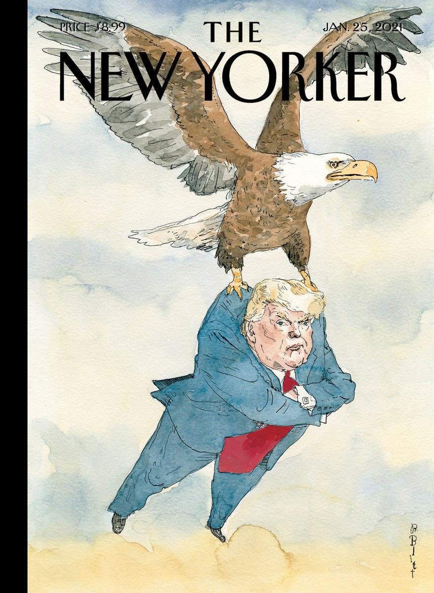 """Replying to @NewYorker: This week's cover, """"A Weight Lifted,"""" by Barry Blitt:"""