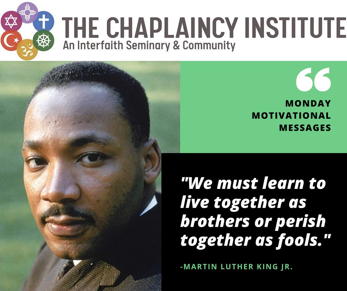 Happy Martin Luther King Jr. Day! This day celebrates the life and achievements of a minister and activist who was an influential voice for the civil rights movement. Thank you, Dr. Martin Luther King Jr., for your service. #MLKDay #mlkdayofservice #TheChaplaincyInstitute https://t.co/WVjjJ6Xx3O