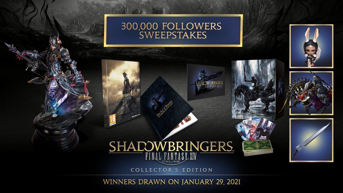 🇬🇧🇺🇸🇨🇦: To celebrate 300,000 of you following us, we're giving away 4 #FFXIV Shadowbringers CEs! 🤩  1️⃣ Follow this account 2️⃣ RT this tweet 3️⃣ Reply to this tweet with #FFXIV300kSweepstakes  For full terms and conditions, please see the official rules at .