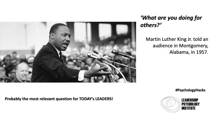 """What are you doing for others?"" Martin Luther King - probably the most relevant question for today's leaders 🧠 #leadership #martinlutherking #crisisleadership #psychologyhacks #mondaythoughts #MondayMotivation"