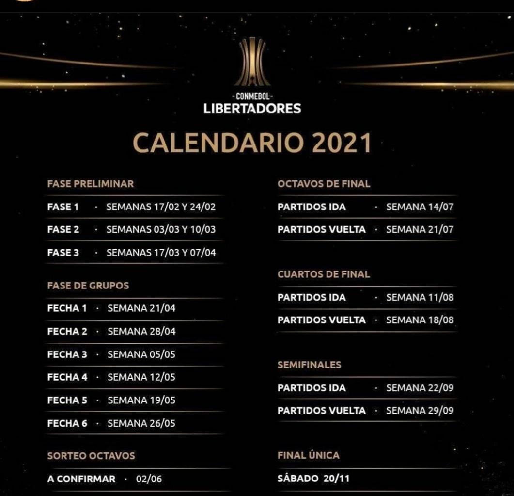 Oficial  Calendario #Libertadores 2021 #ConmebolSudamericana
