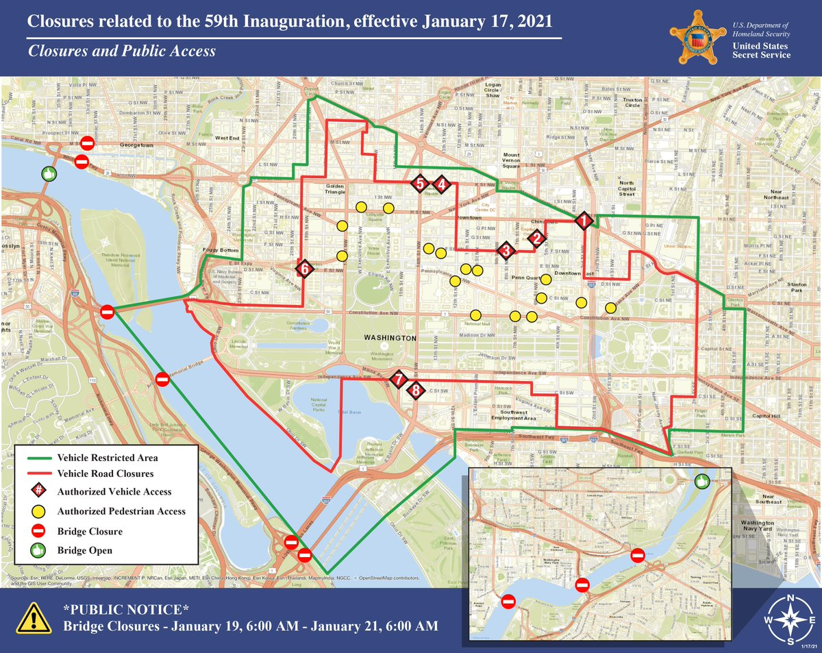 If you live, work, or plan to visit the Washington, D.C. area during #Inauguration2021, check out the latest road closure map. Stay up-to-date on #Inauguration security information:
