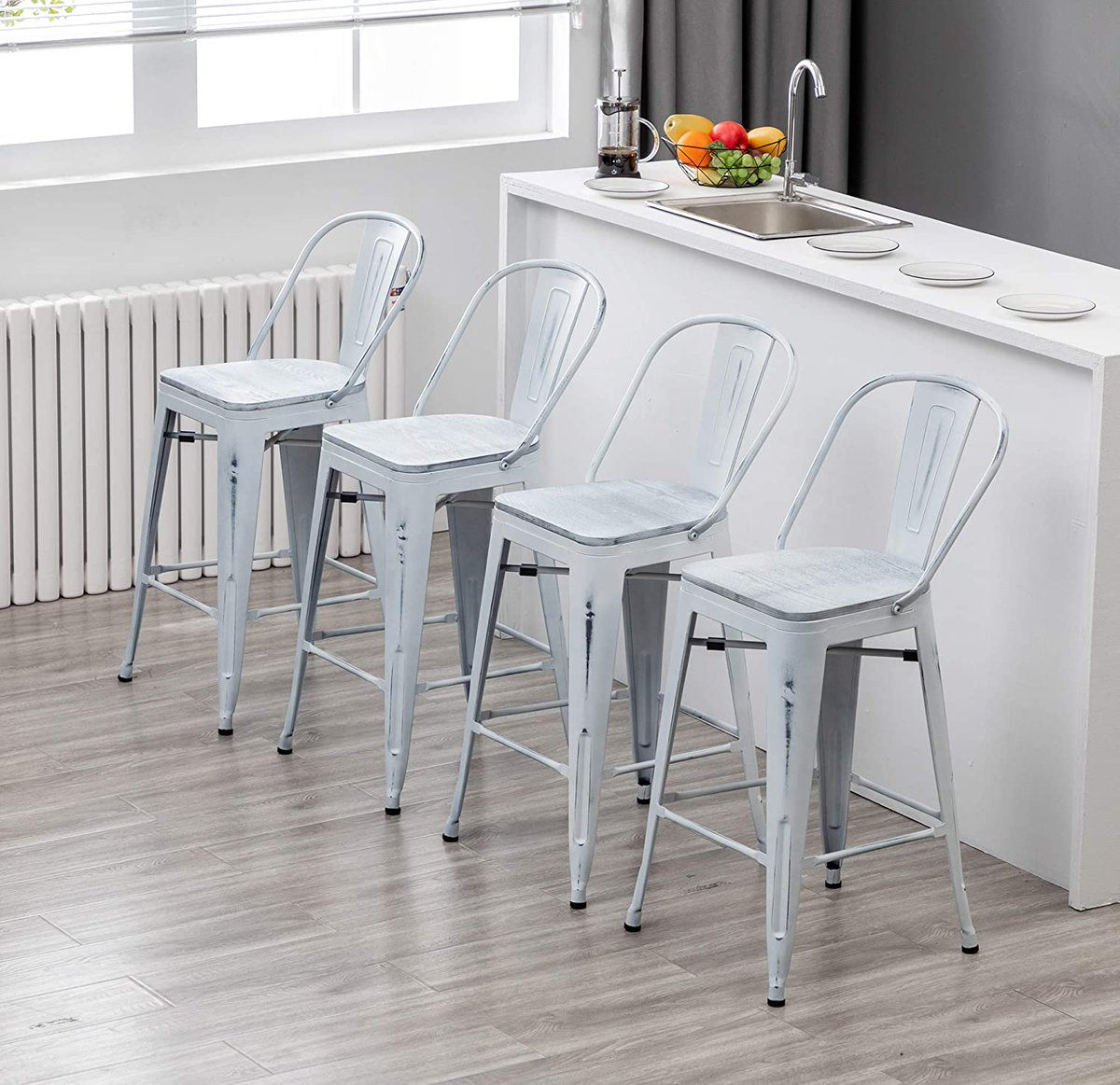 Sharing #distressed #white #highback #bar #stool for #home #kitchen  #Amazon👉 #homesweethome #moderndesign #Christmas #blog #design #furniture #barstool #industrial #chairs #MondayThoughts #MondayFeeling #MondayMotivation #Mondaymorning #MondayVibes