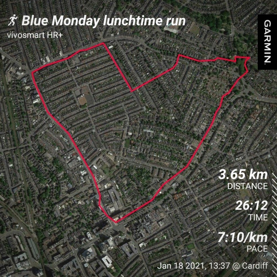 Day 18 of #REDJanuary2021. Apparently it's #BlueMonday 🤷♀️ (made up day!) so, short lunchtime run listening to Mr Blue Sky, Fishermen's Blues, and Blue Monday (obvs!) etc 💙🎧 #MondayMotivation ❤️