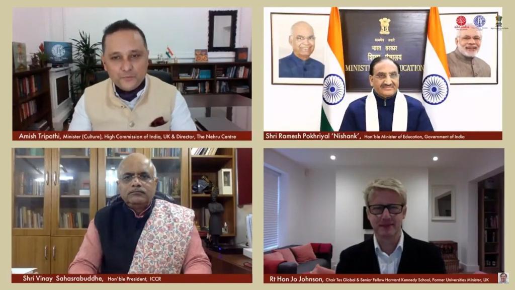 Shri @DrRPNishank, Hon'ble Minister of Education, Government of India , Rt Hon @JoJohnsonUK, Educationist, Former Universities Minister UK & Shri Vinay Sahasrabuddhe, Hon'ble President, @ICCR_Delhi engaged in a dialogue on India's #NEP2020 today. #NEPOutreach https://t.co/Ub2wtflTGb
