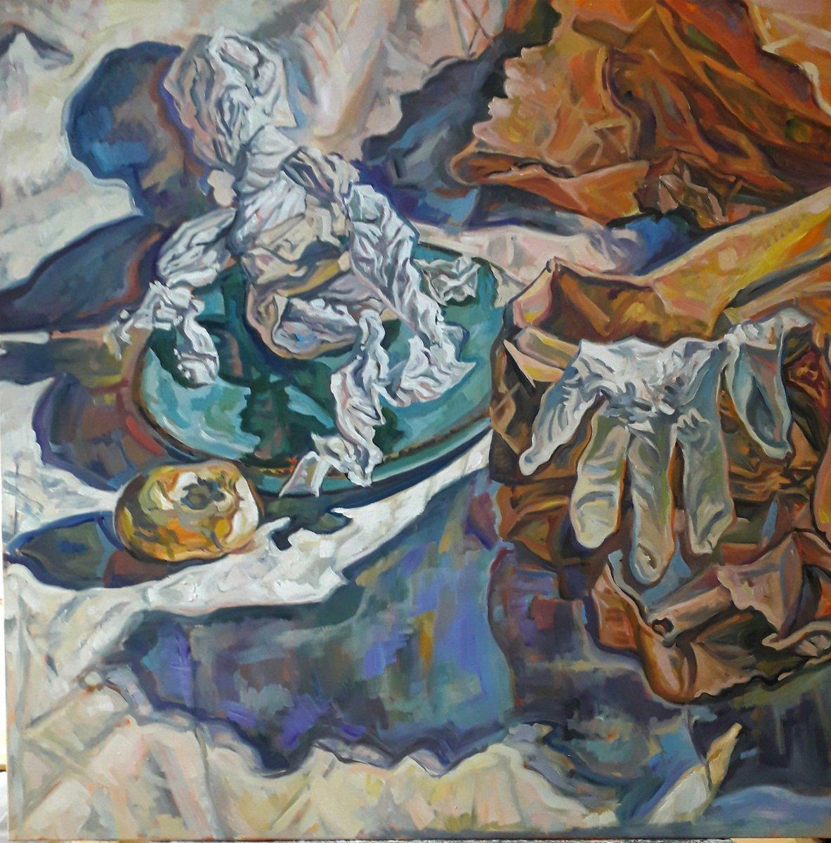 'Island' 80cm x 80cm 2021, Thin Tissue series #oiloncanvas #oilpainting #art #artist #womensart #isolation #Menopause #ArtistOnTwitter @rbsagallery #storytelling #stilllife https://t.co/0whF42ncT9