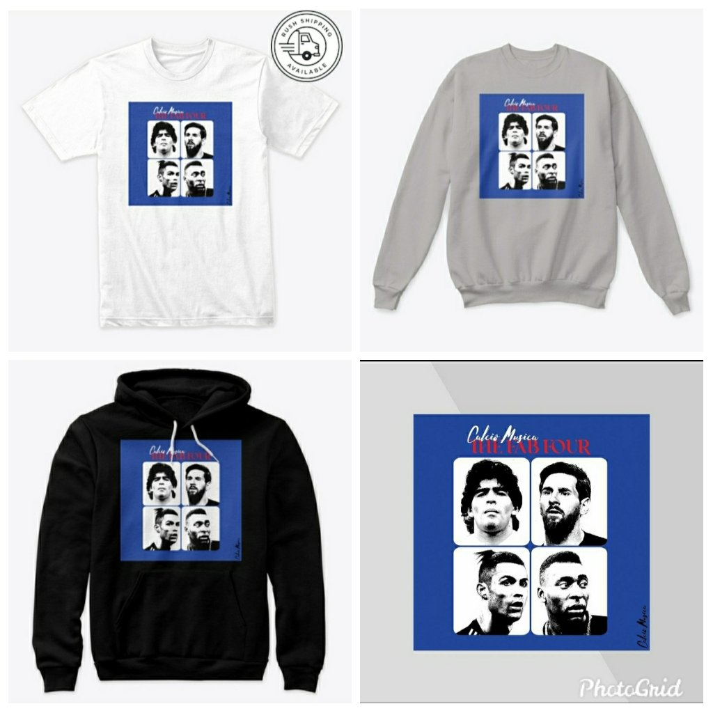 "The ""Fab Four"" From Calcio Musica. Available As A Hoodie, Sweatshirt, Premium Tee and Long-Sleeve Tee. Enter Promo Code ""CALCIO10 "" For 10% Off All Orders Throughout January. #calcio #musica #football #music #Messi #Ronaldo #Maradona #Pele #hoodie #tshirtdesign #fashion #apparel https://t.co/FPG77qhW8n"