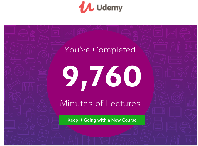 #MondayMotivation On Day 197 of #100DaysofCloud, @udemy has said that I've logged into 9670 minutes in 2020 on #ArtificialIntelligence #MachineLearning and #CloudComputing. #100DaysofMLCode #100DaysofCode