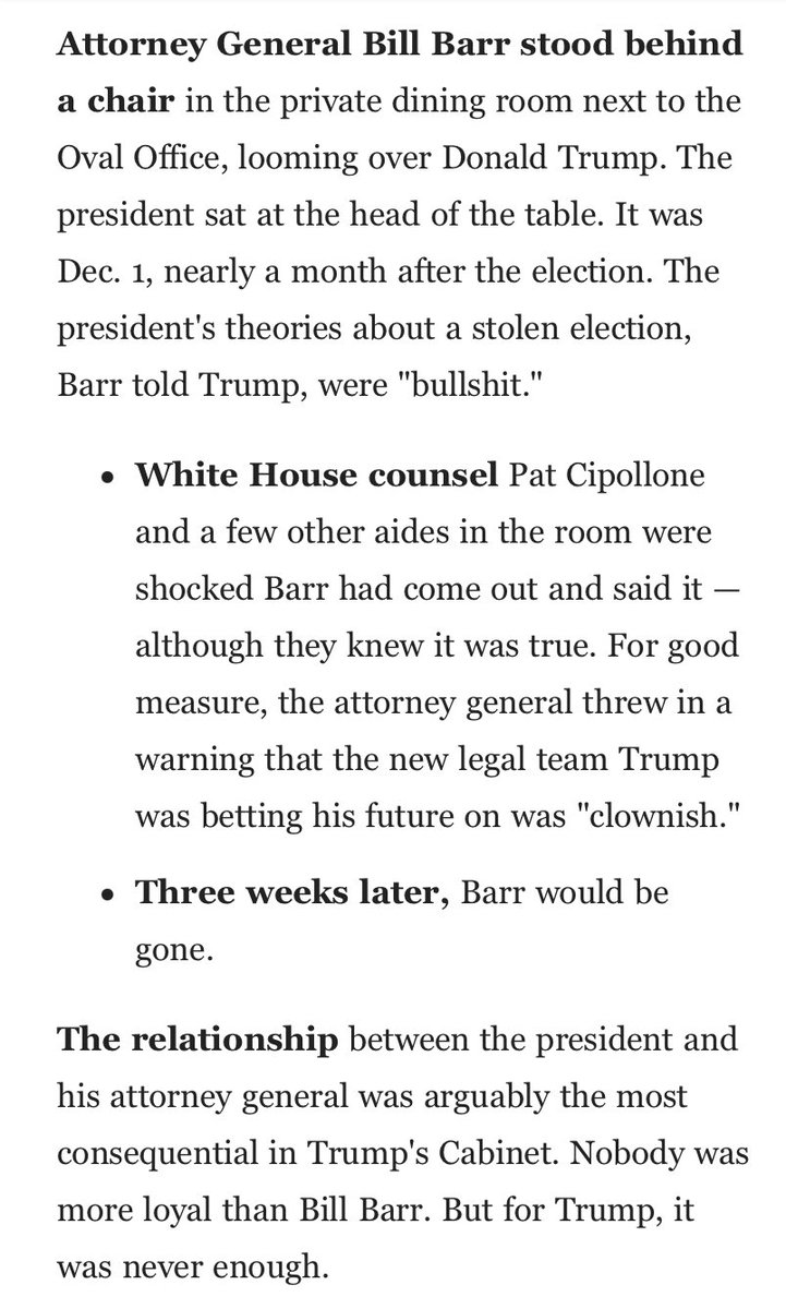 """This reporting about the Attorney General and others advising Trump that his election fraud claims were BS strengthens the legal case against Trump for his call to Georgia's Secretary of State.  He asked the state's top election official to """"find"""" votes he's been told don't exist https://t.co/e5EJ6Ws8tm"""