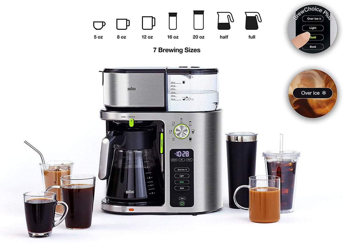 Braun Stainless Steal, MultiServe Machine With 7 Programmable Brew Sizes and Glass Carafe Price - $159.96   https://t.co/qj2JN1rQ52  #deals #NaughtiasDeals #dealoftheDay #Amazon #Savings #Bargains #Barista #Coffee #coffeelovers #SaturdayMorning https://t.co/JMaGLcjuaD