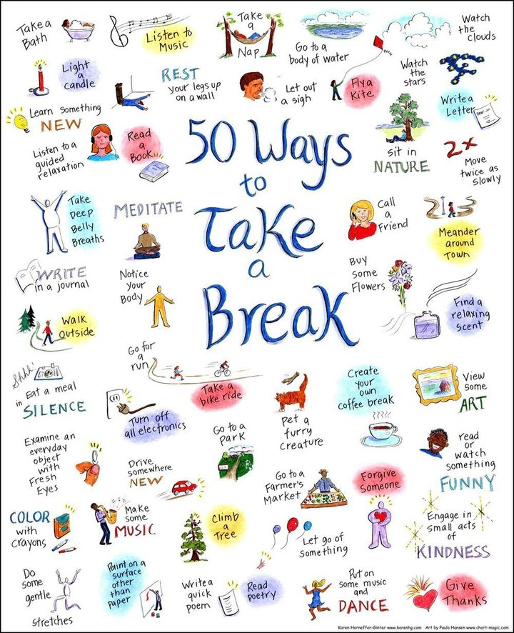 January is #MentalWellnessMonth. One easy way we can all take care of our mental wellness is by taking breaks. Need ideas for ways to take a break? Here are 50 of them! #MondayMotivation