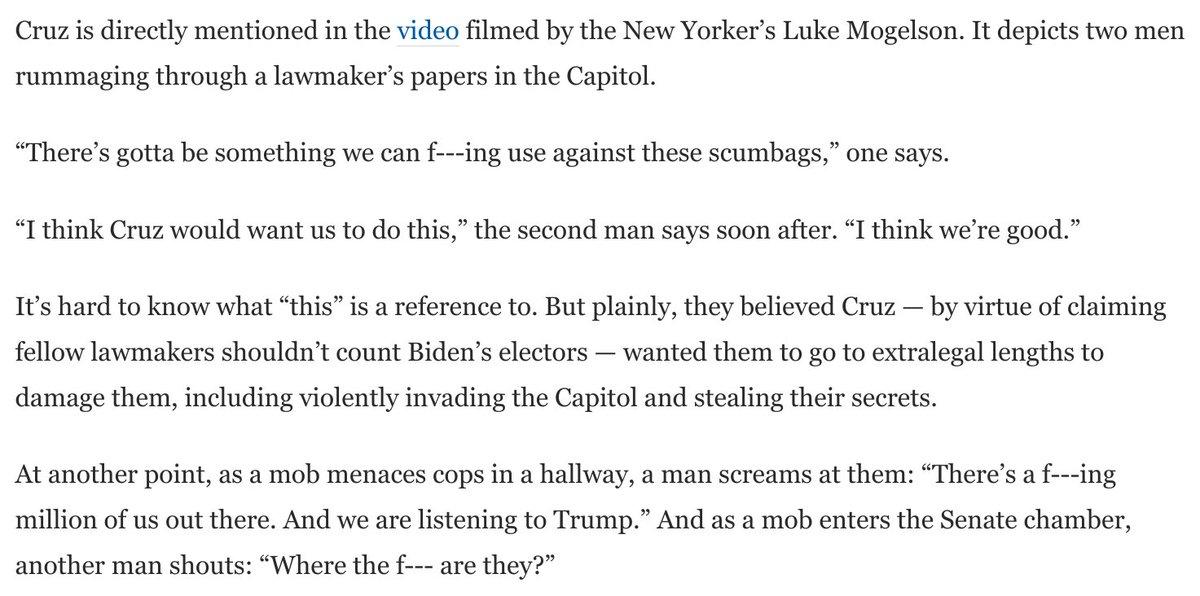 """Some choice quotes from new video reported by @NewYorker and @propublica:  """"I think Cruz would want us to do this.""""  """"There's a f---ing million of us out there. And we are listening to Trump.""""  """"We're coming for you, f---ing traitor.""""  https://t.co/u98BQfXxeV https://t.co/eLphJbnlMR"""
