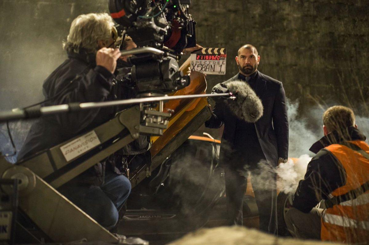 Birthday boy Dave Bautista on the set of SPECTRE (2015) #movies #BOTD #January18 #bornonthisday @007 #DaveBautista #behindthescenes #bond #JamesBond