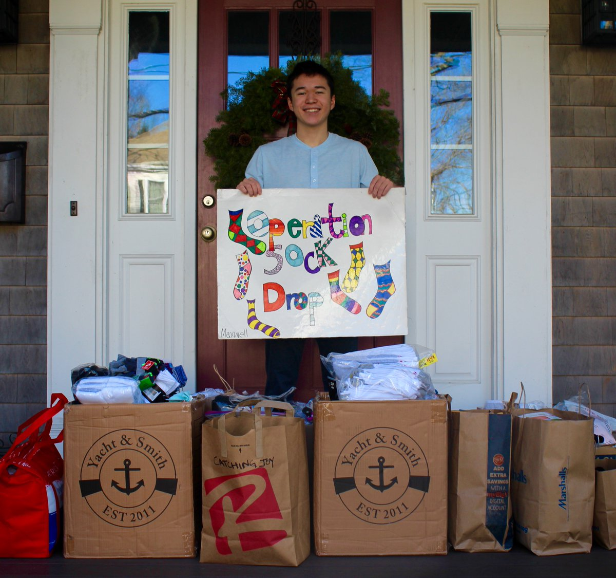 Maxwell Surprenant is honored to lead @CatchingJoy's Operation Sock Drop in partnership with the @BidenInaugural for #MLKDay #NationalDayofService. In just a couple weeks, we have surpassed 2021 socks- now nearing 3000 socks!!! #DoGoodFromHome #YouthHavePower #ChannelKindness