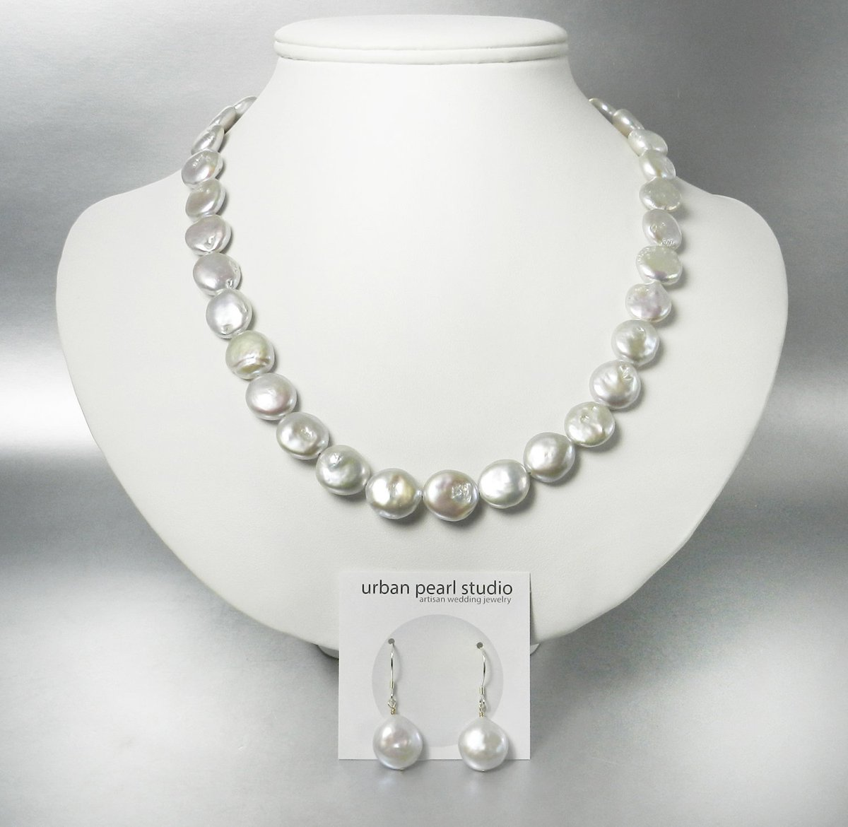 Silver Coin Pearl Necklace With Box Clasp    Gray Pearl Set Bridal Flat Pearl Necklace Coin Pearl Earrings https://t.co/j42ZNmFrJQ #handmadejewelry #etsy #pearlnecklace #giftsforher #lovejewelry #handmade https://t.co/7c7Lzymr2v