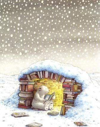 #winter is a great time to build a #book Fort #booklovers #readers #illustration #polarbear  #reading #writing #snow #Snowing #booknook #books #bookden #bookworms 📚📚📚📚📚📚📚📚