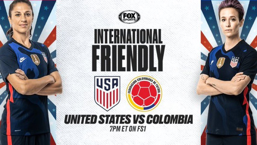 Gameday! #USWNT is back, preparing for Olympics. 18-player roster...good players aren't gonna make cut. Featuring old stars @mPinoe and @CarliLloyd (35 yr & 38 yr) and new stars @catarinamacario & @sophsssmith (21 yr & 20 yr.) Broadcast kicks off on @FS1 at 7 pm ET. #USAvCOL 🇺🇸⚽️