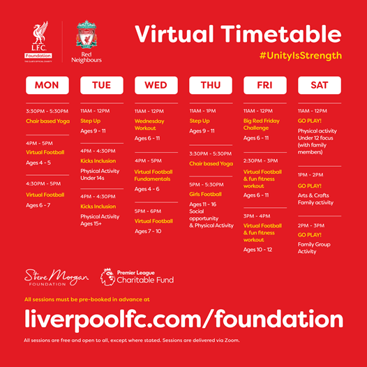 🔴VIRTUAL TIMETABLE🔴  We're still here for you - from physical activity to wellbeing sessions for all ages.❤️  Book your session now📲:   #UnityIsStrength