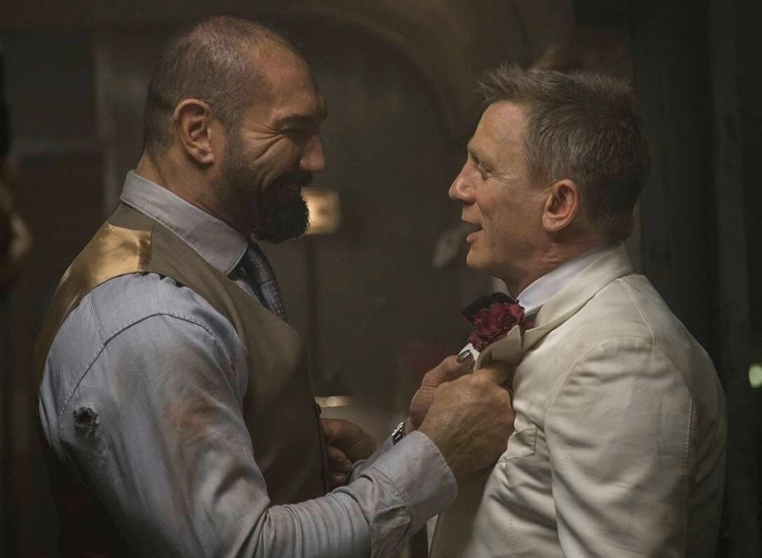 Birthday boy Dave Bautista with Daniel Craig on the set of SPECTRE (2015) #movies #BOTD #January18 #bornonthisday @007 #DaveBautista #behindthescenes #bond #JamesBond