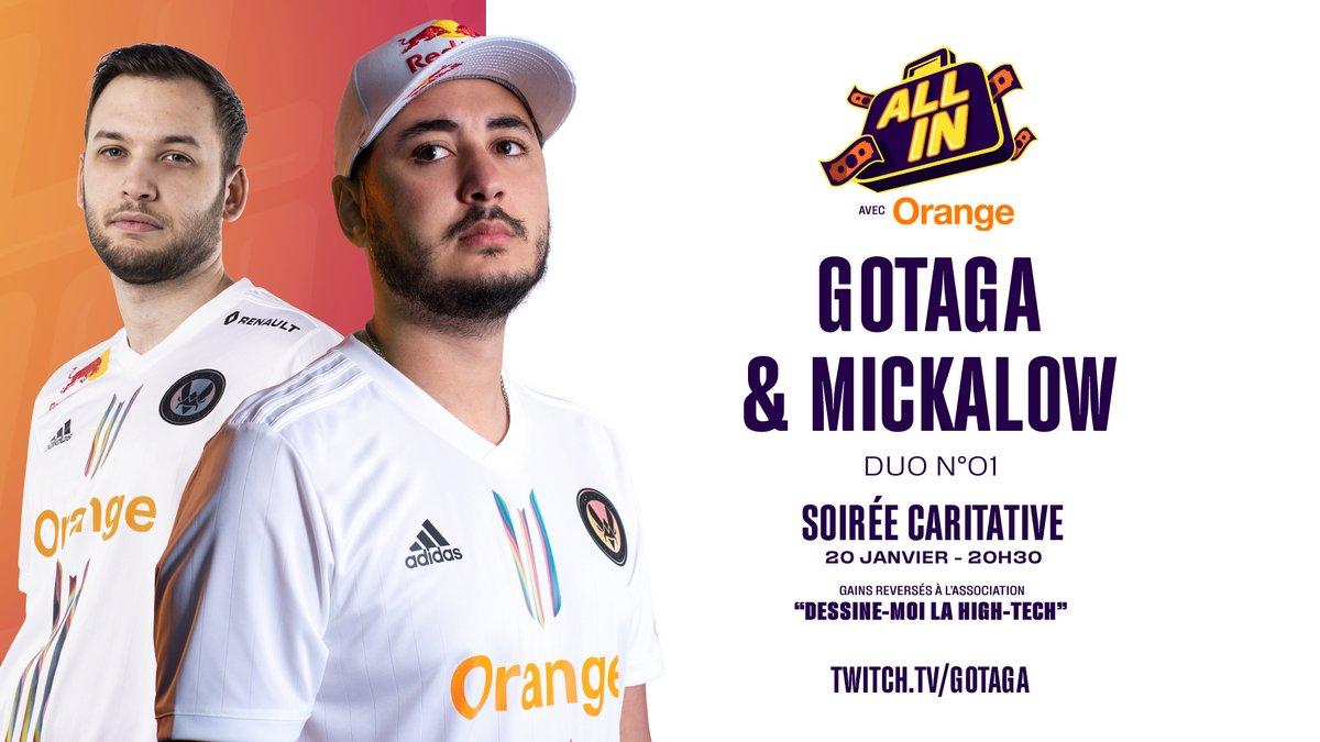 Team Vitality - Le premier duo d'All In avec @orange_france sera composé de notre très cher @Gotaga & de son acolyte @Mickalow 😉
