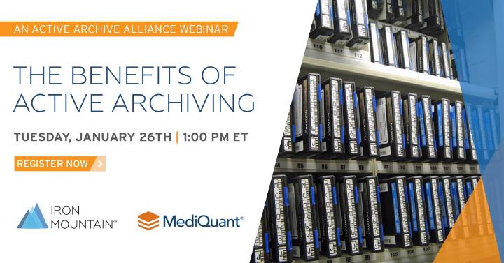 Explore the ways you can reduce data storage costs and complexities. Register for @IronMountain's webinar on Tuesday, January 26th at 1:00 PM ET, in partnership with @MediQuantLLC, to learn about the benefits of active archiving: