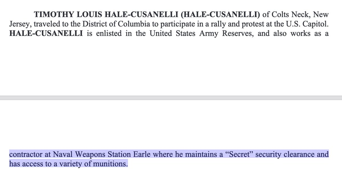 "A chilling detail from court papers:  Hale-Cusanelli is a ""contractor at Naval Weapons Station Earle where he maintains a 'Secret' security clearance and has access to a variety of munitions."" https://t.co/RuWIte4wYv"