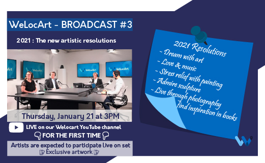 📒 #broadcast plannedfor next #Thursday, #January 21st at 3 PM (#Paris , #France )  👉 #Topic : 2021, The new #artistic #resolutions   🎨 #Artists will participate #LIVE on set  💁🏻♂️ To #WATCH the broadcast live :  or (#Facebook)