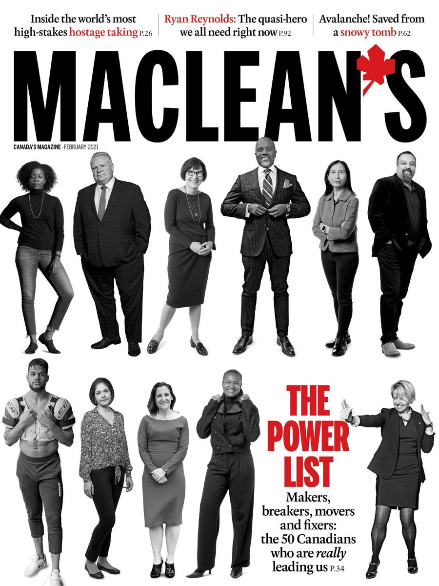 The 2021 Macleans Power List features 50 Canadians with qualities we think represent power in a time of transformative change. They are the makers, breakers, movers and fixers who are really leading us. See the full Power List here: bit.ly/3qtqJFO