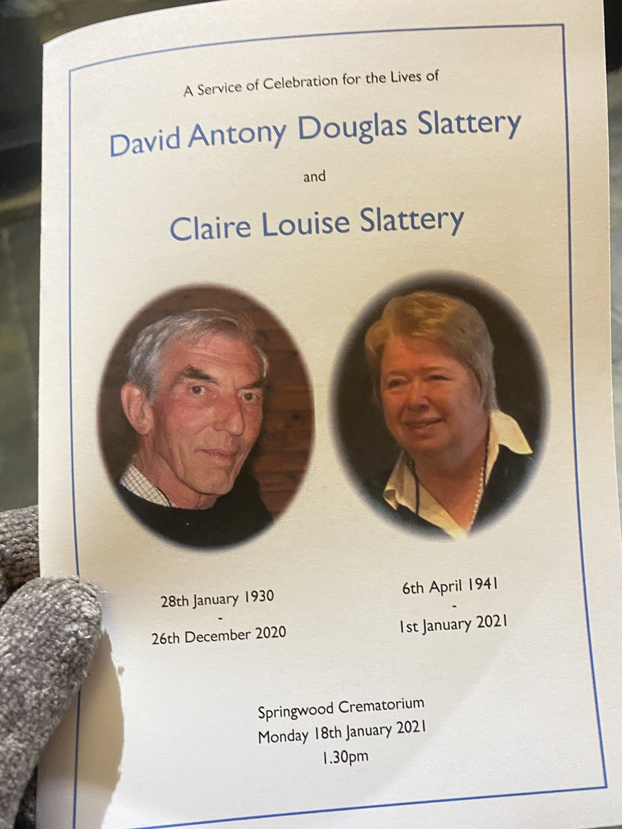 RIP to David and Claire Slattery - much loved residents at Wapping Dock - adored each other and died six days apart - laid to rest today - side by side - a lifetime of history - good night and god bless both of you  .... #staysafe