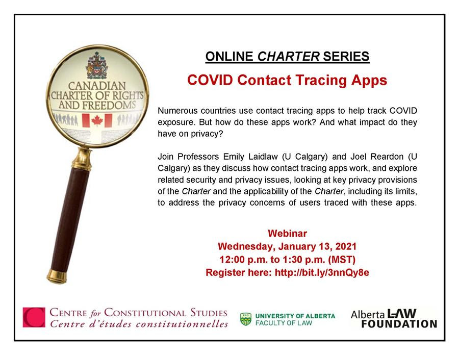 Now available: The recording of last weeks Online Charter Series on contact tracing apps with Profs @EmilyLaidlaw (@UCalgaryLaw) & Joel Reardon (@UofC_CPSC)! Watch the recorded Webinar here: bit.ly/3qwT0LQ