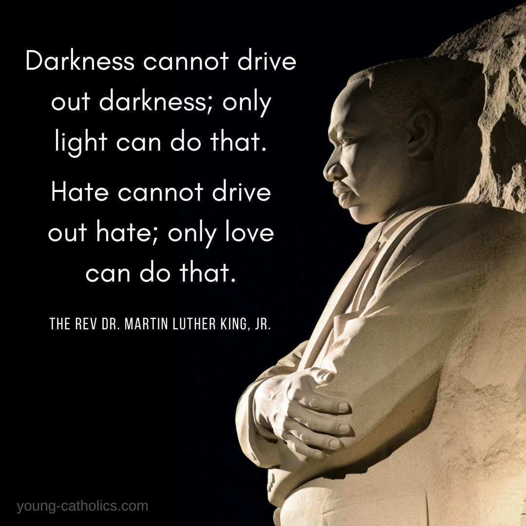 Darkness cannot drive out darkness; only light can do that. Hate cannot drive out hate; only love can do that.     The Rev. Dr. Martin Luther King, Jr.   #MLK #MartinLutherKing #love #light