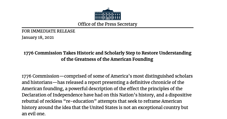 """Report released by 1776 Commission """"presenting a definitive chronicle of the American founding,"""" announces @WhiteHouse."""