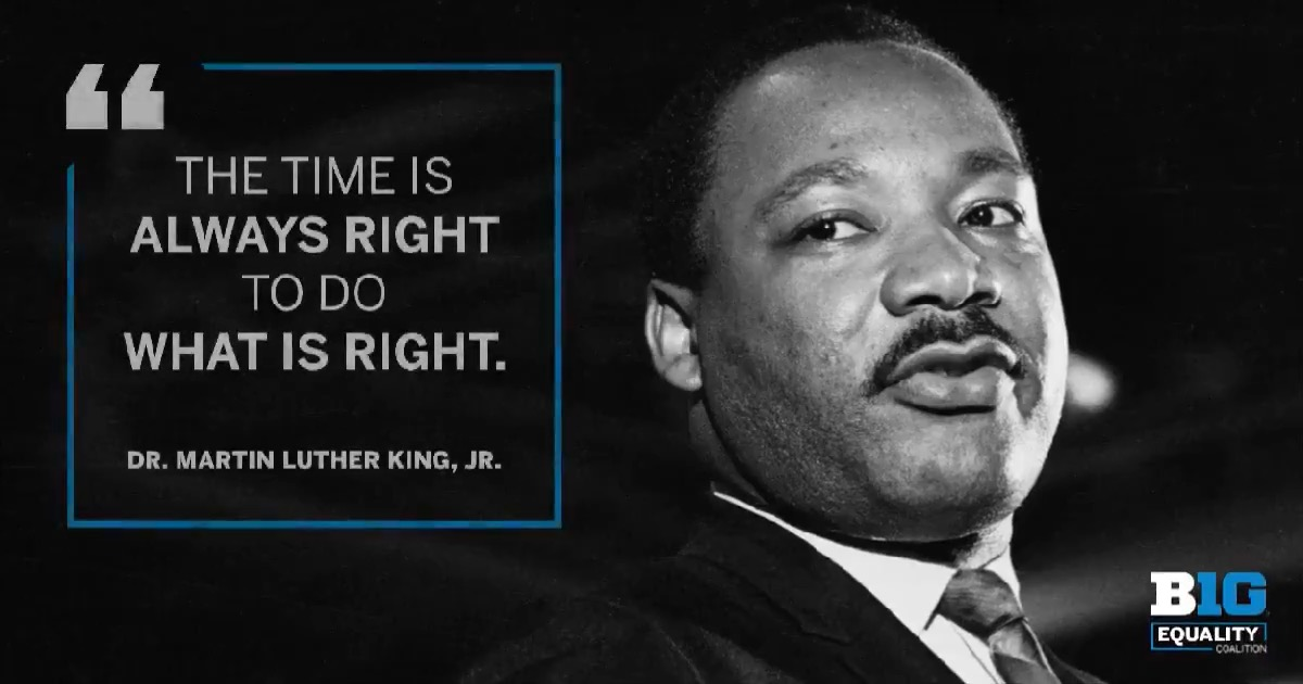 Today, the Big Ten Conference honors Dr. Martin Luther King, Jr. We invite our #B1G family to join us in remembering his words and reflecting on how we can all work together toward unity, justice and love for all. Tell us how you're honoring Dr. King today. #UnitedAsOne #MLKDay