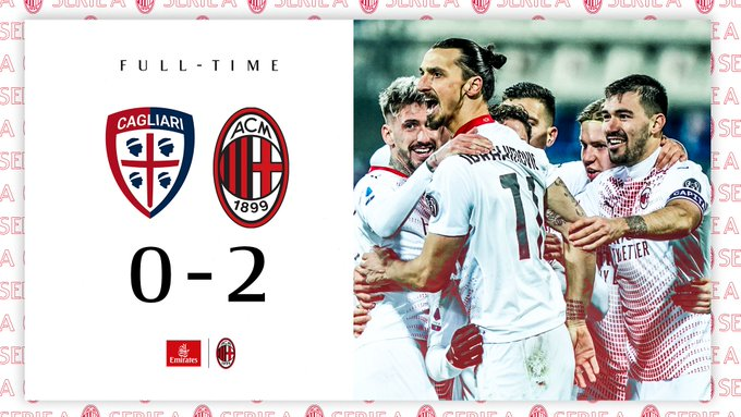 Skor akhir pertandingan Cagliari vs AC Milan
