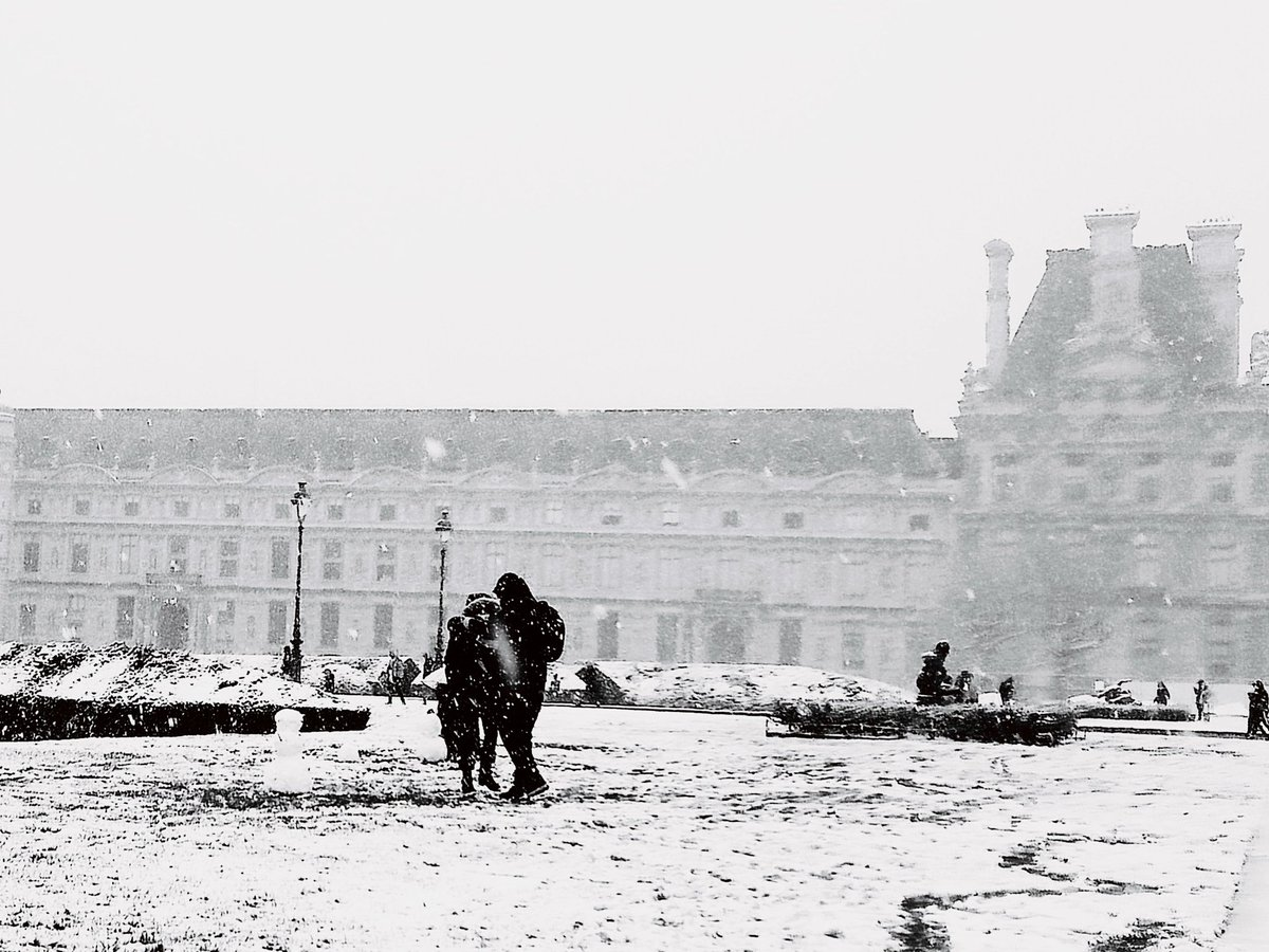 Lovers often seem to be caught in some kind of storm. Like snowflakes in the wind, they slowly drift away, not able to know when or where to go.  Their only wish is to fly together in an everlasting snowy sky.  Text & photo by me #lovers #poem #photo #Paris #Louvre #Tuileries