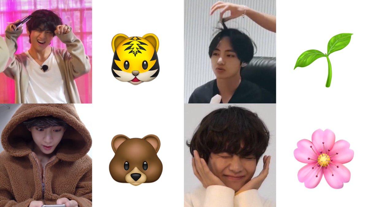Replying to @taetevids: taehyung as emojis ~ ☆