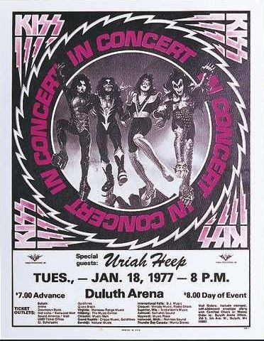 #KISSTORY January 18, 1977 #KISS at Duluth Arena in Duluth, Minnesota. @uriah_heep opened the show.