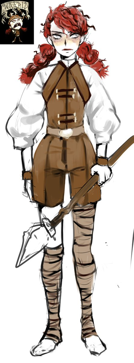 I really don't engoy the skirt version. here's my ideal version of wigfrid #klei #DS #DST #wigfrid #dontstarve