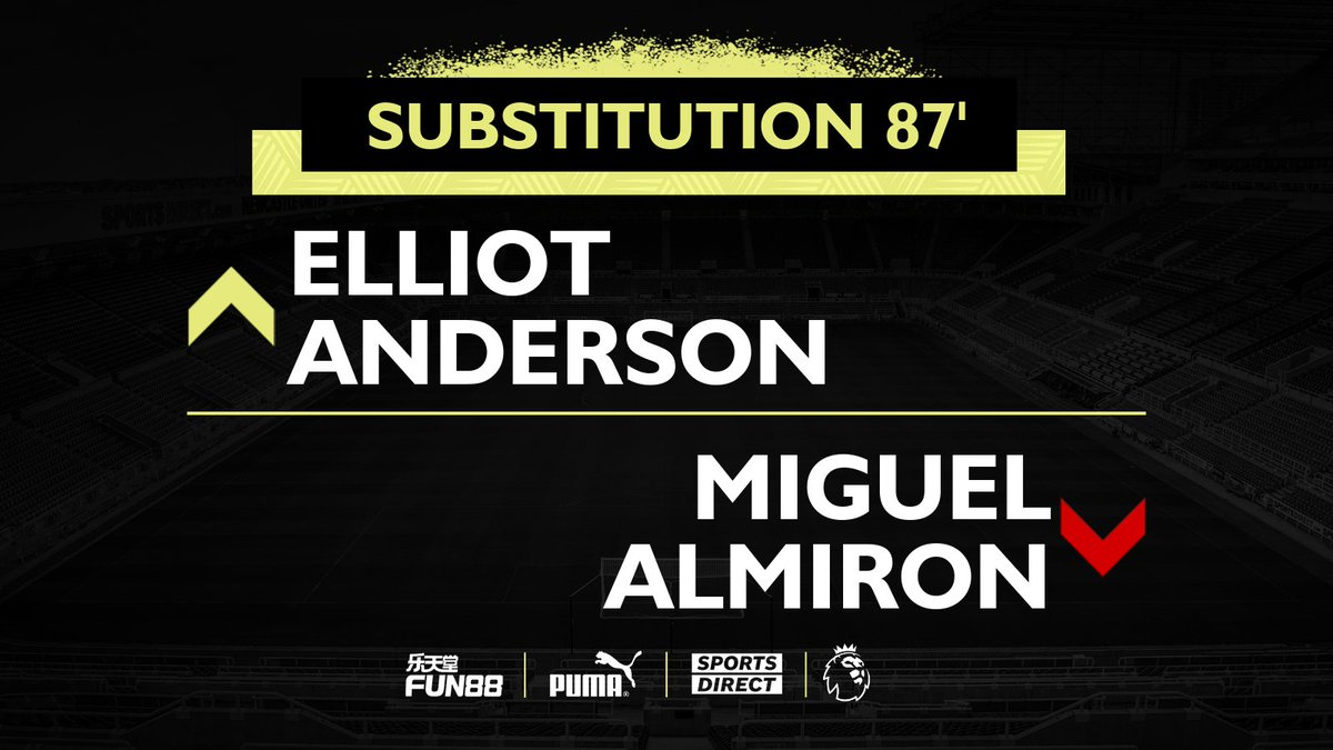 87' Elliot Anderson comes on for his Premier League debut.  [3-0]  #ARSNEW | #NUFC