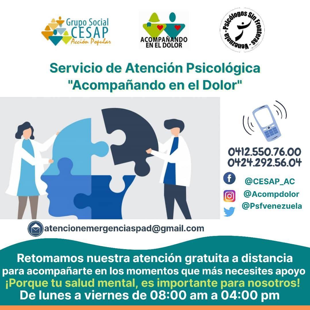 """#2021 #cuarentena #COVID-19  Retomanos el Servicio Atención Psicológica """"Acompañado en el Dolor"""". Llama 📲al (0412)550.76.00, (0424)292.56.04, #Lunes a #Viernes 08:00 AM a 04:00 PM, o escribe 📧atencionemergenciaspad@gmail.com #QuedateEnCasa #SaludMental @CESAP_AC @psfvenezuela"""