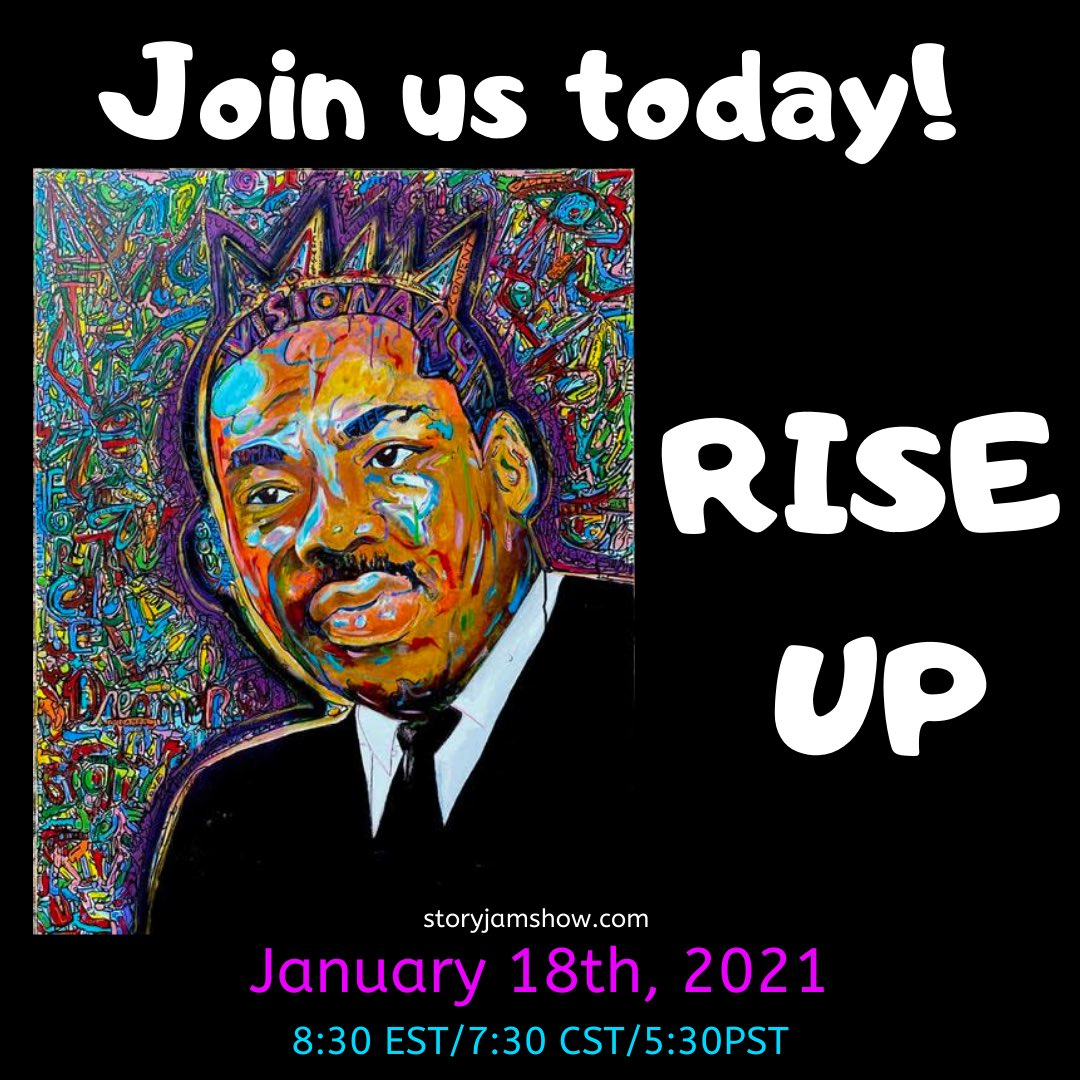 Today on MLK Day we are celebrating Martin Luther King through storytelling and music in a virtual show that you DO NOT want to miss! 8PM EST/7PM CST/5 PM PST! Get your tix!  #mlk #mlkday #MLKDay2021 #martinlutherking #MLKDayofService #mlkjrday #storyjam