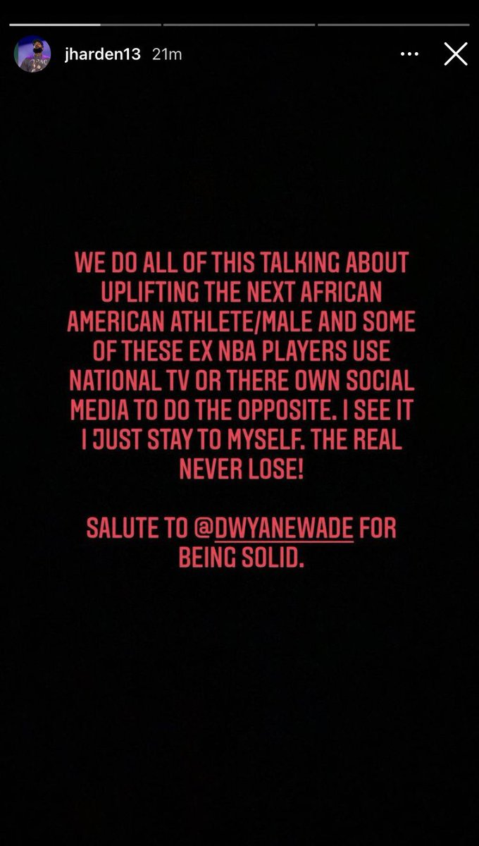 """""""Nós sempre falamos sobre inspirar o próximo atleta preto e alguns desses ex jogadores usam a TV e suas redes sociais para fazer ao contrario. Eu vejo isso e apenas fico na minha, quem é de verdade nunca perde!  Um salve pro Wade por ser sólido.""""  #MLKDay  #NBA"""
