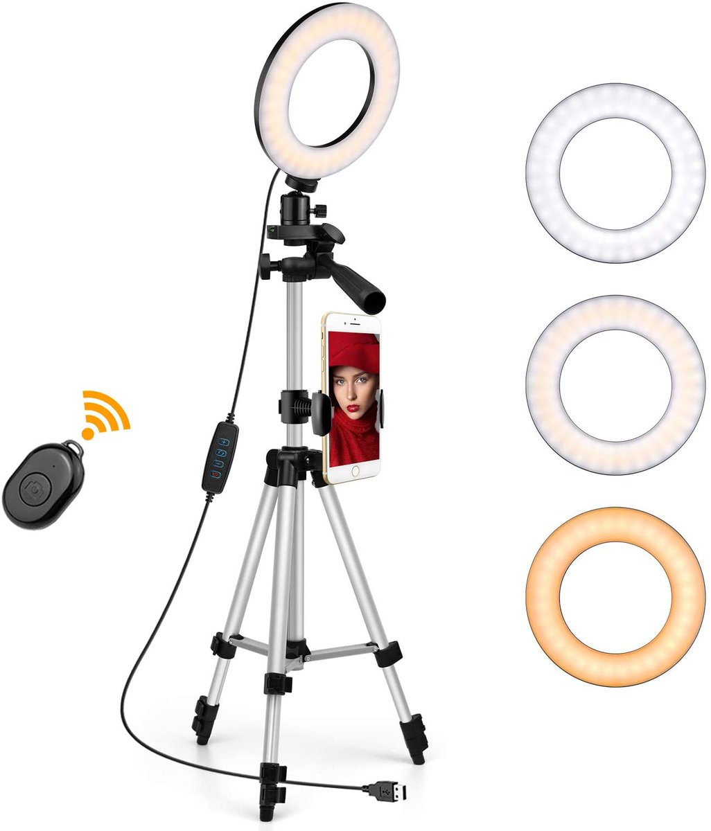"Going Fast - 6"" Ring Light with Tripod Stand Cell Phone Holder  Sale Price $21.99     #makeupartist #deals  #photography #salons #photoshoot #sales #MUA #NaughtiasDeals #barberlife #Discounts #Amazon"
